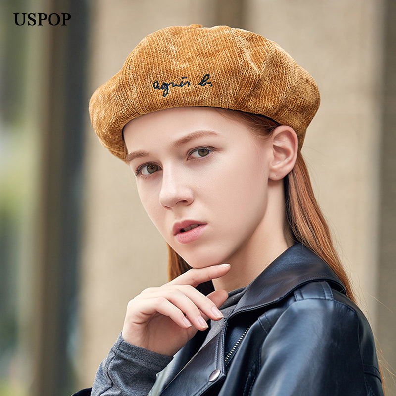 3edd4439972ab ... USPOP 2018 New women chenille berets letter embroidery beret hat casual  vintage octagonal hats female thick ...