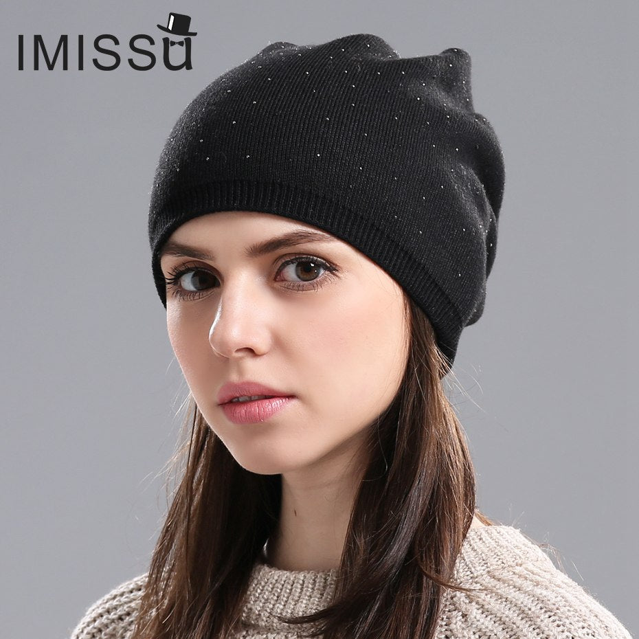 b69d7300c6b ... IMISSU Women s Winter Hat Knitted Wool Beanie Female Fashion Skullies  Casual Outdoor Mask Ski Caps Thick ...