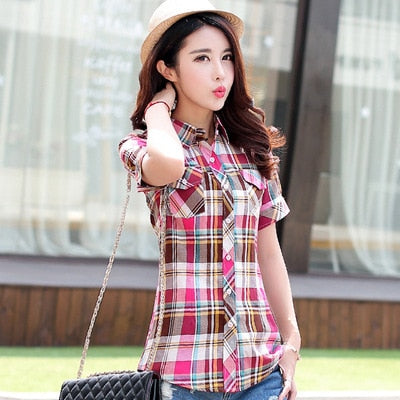 72158fc56d1 ... Velvet Thick Warm Women s Plaid Shirt Female Long Sleeve Tops Plus Size  Winter Check Blouse Blusas ...
