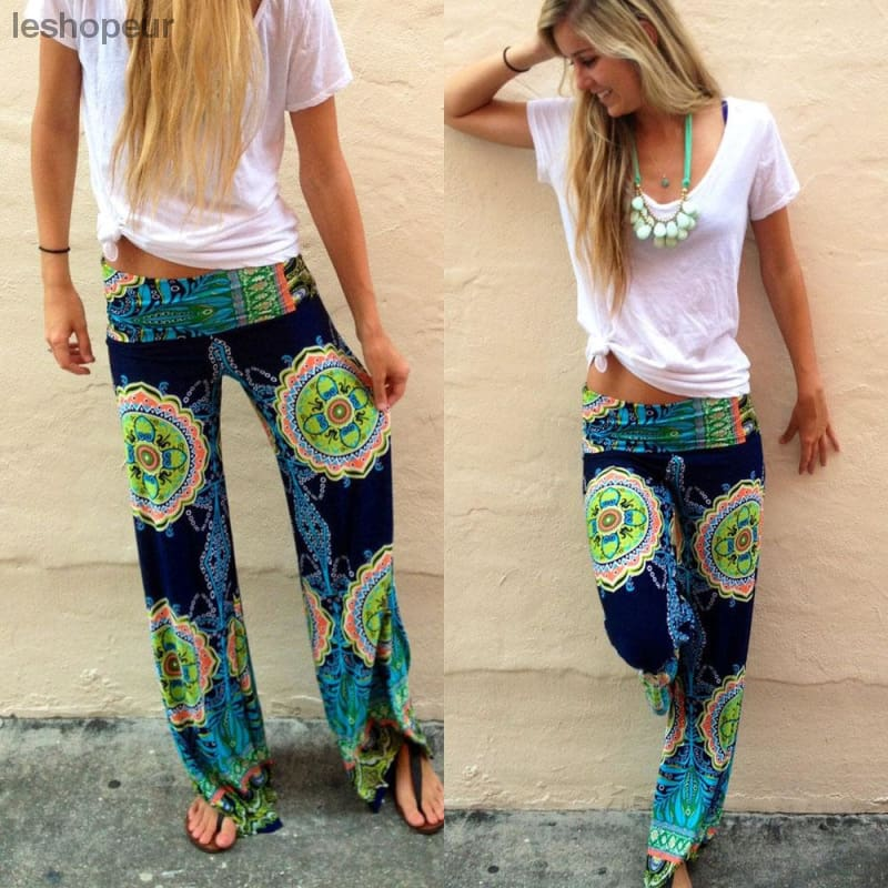 903fe5ac94f Floral Casual Wide Leg Long Harem Pants High Waist Loose Elastic Waist  Palazzo Trousers Plus Size ...