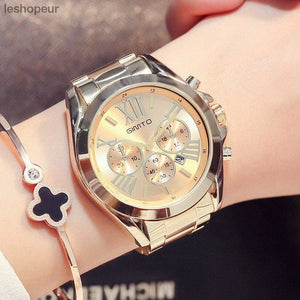 edc261a2040cc5 Gitmo Luxury Gold Women Watch Top Brand Golden Casual Quartz Lady  Wristwatch Stainless Steel Waterproof Calendar