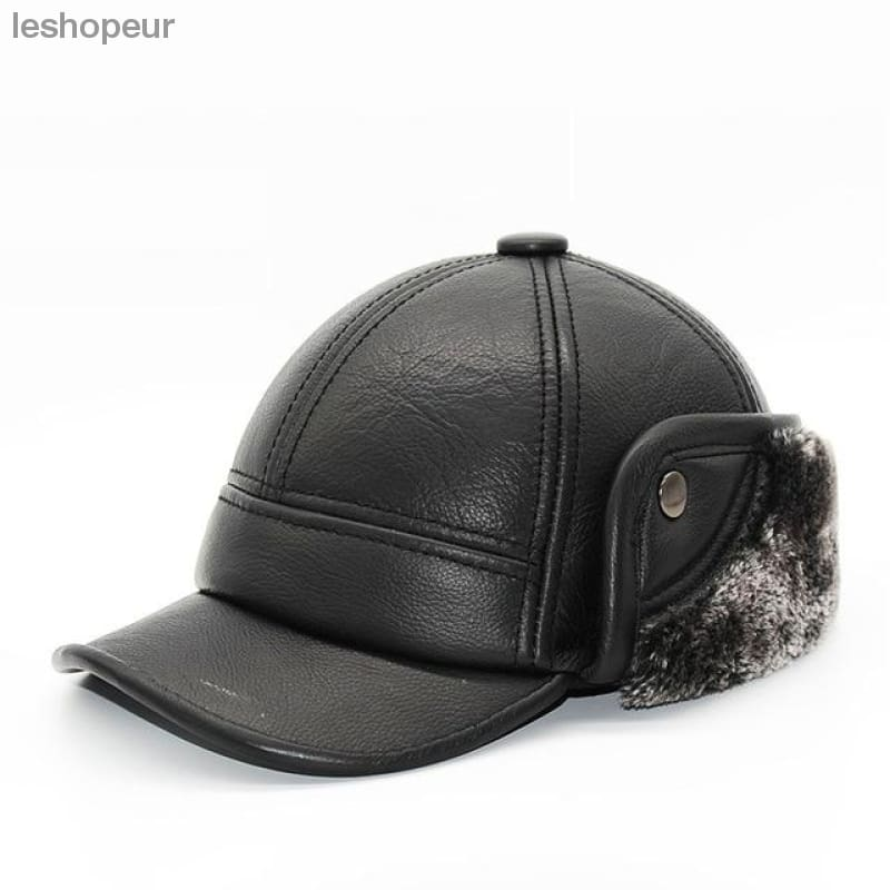 ... Haisum Special Offer Fitted Adult 2018 New Fashion Mens Smooth Genuine Leather  Baseball Caps Winter Warm fb31649c60e