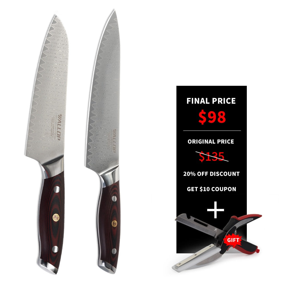 Japanese Kitchen Knives For Sale | Wallop Kitchen Knives Stainless Steel Two Piece Set Chef Knife Santok