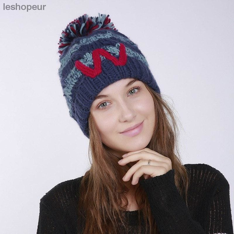 204758d9890 ... Skullies Beanies Hats Women Hats Winter Warm Cashmere Face Mask Classic  Style Ponytail Pom Pom Ladies ...