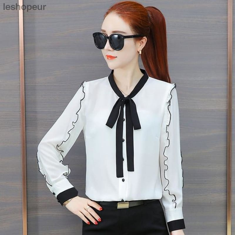 c6a75f463c0415 Womens Tops and Blouses Chiffon Blouse Autumn Ladies Striped Shirts Long  Sleeve Elegante Casual Ladies Tops Office Clothing