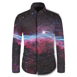 56b192fceb98 Youthup 2018 Casual Men Summer Shirts 3D Print Galaxy Space Slim Fit Shirts  With Long Sleeve