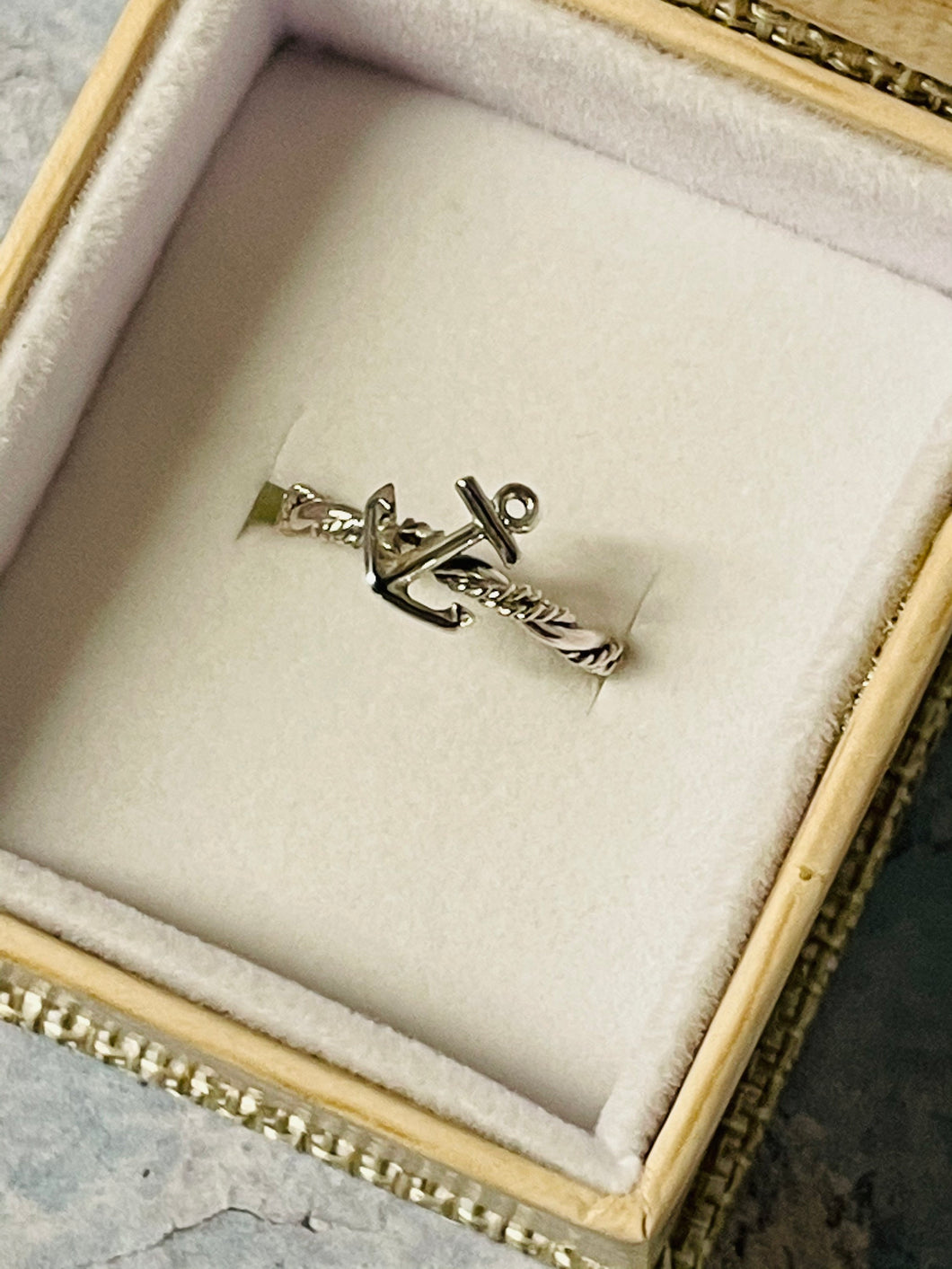 Anchor Sterling Silver Rope Ring