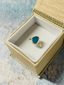 Electric Blue Sea Glass Ring in Sterling Silver