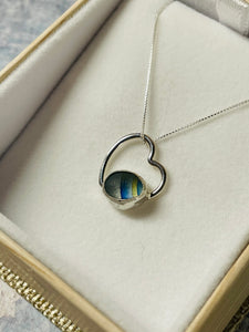 Blue & Yellow Striped Sea Glass Heart Necklace