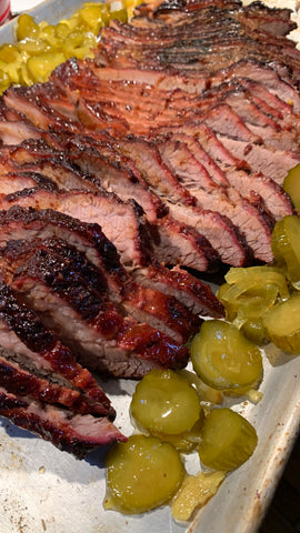 Finished Brisket with pickles