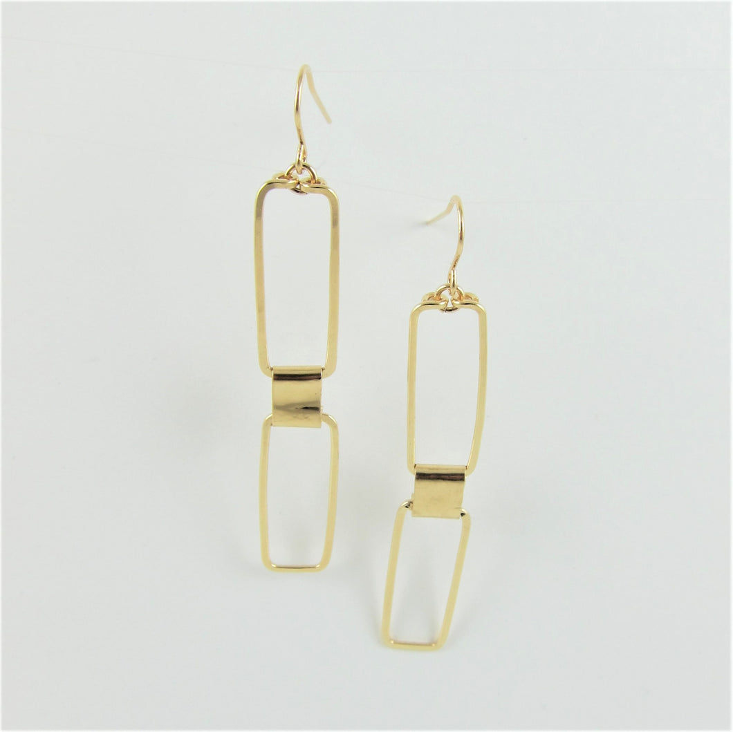 J.Mills Studio - Forged Double Rectangle Earrings Gold