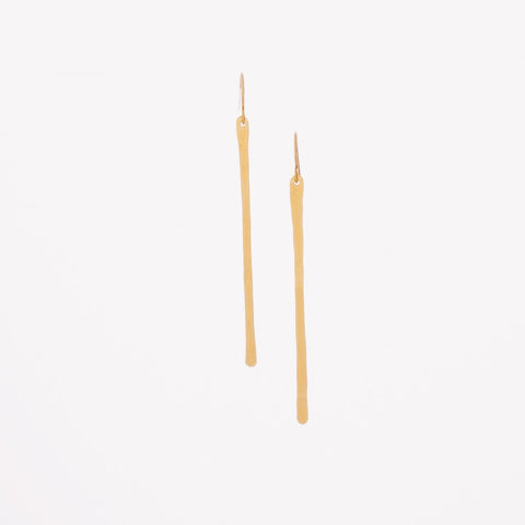 J.Mills Studio - Long Forged Vertical Bar Earrings Gold