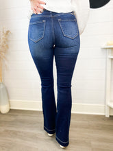 Load image into Gallery viewer, Crystal High Rise Exposed Button Flare Jeans