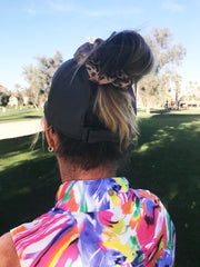 high bun hat, ponytail height options, truerue, headwear, active hat for women, wide brim athletic hat