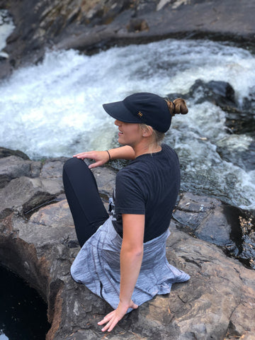 Refresh uplift embrace with Alivia. TrueRue Athletic Wear, ponytail hat for women with wider brim. technical hat for ladies, ponytail headwear