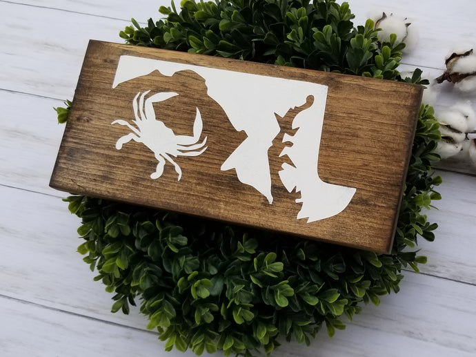 Crab with State of Maryland Wood Sign - Multiple Size and Stain Options