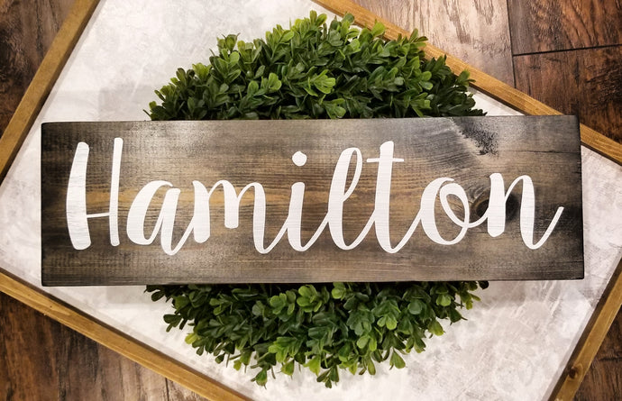 Custom Last Name Wood Sign - Multiple Font and Stain Options