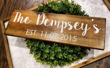 Custom Last Name Established Date Wood Sign - Multiple Font and Stain Options
