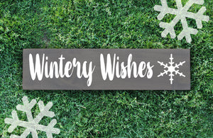 Wintery Wishes Wood Sign - Multiple Size and Stain Options - Holiday Christmas Winter Farmhouse Sign