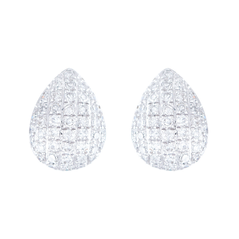 Aretes Drop en oro blanco 14K con Diamantes