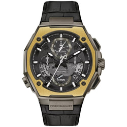 BULOVA 98B354 PRECISIONIST X SPECIAL EDITION DAMASCUS 18K RING CHRONOGRAPH