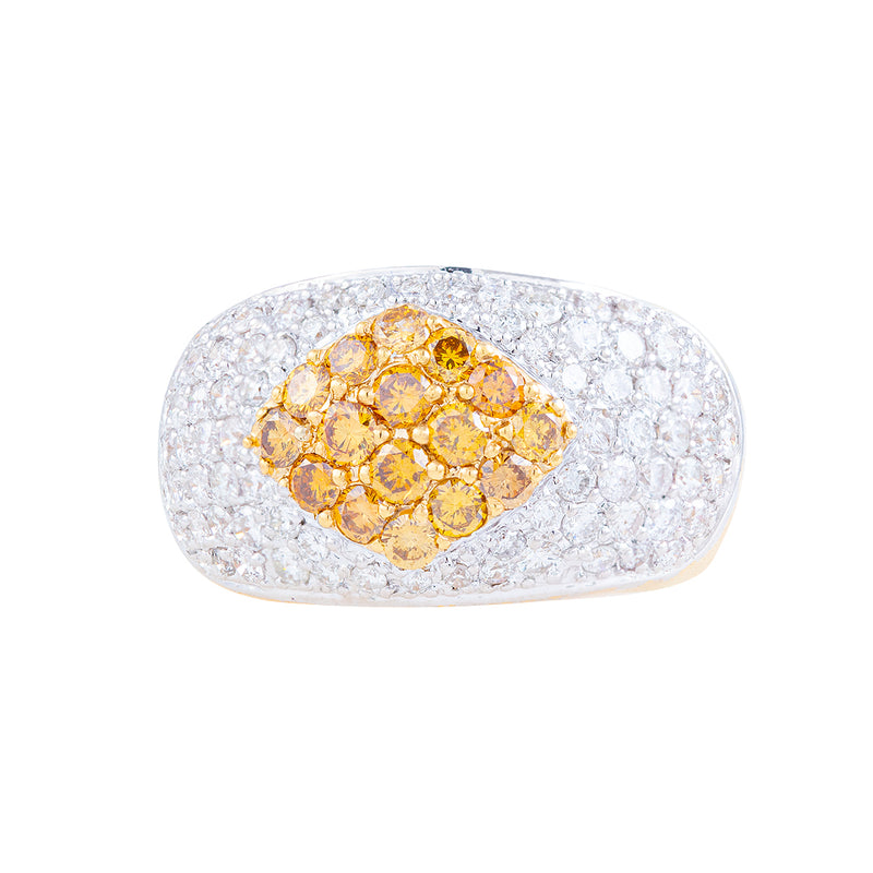 Anillo Geometry Cluster en oro 18K con diamantes
