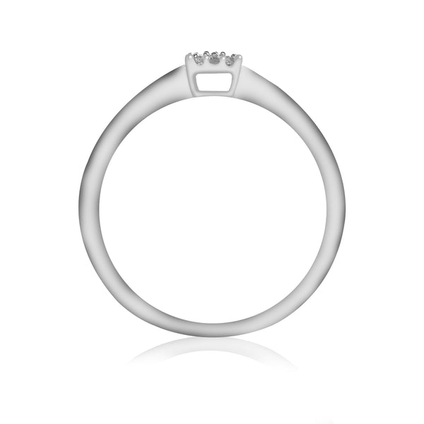 Anillo Estilo Halo de oro blanco 14K Diamantes laterales corte brillante .10Q
