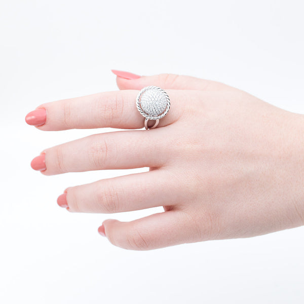 Anillo Sphere en oro blanco 14K con diamantes