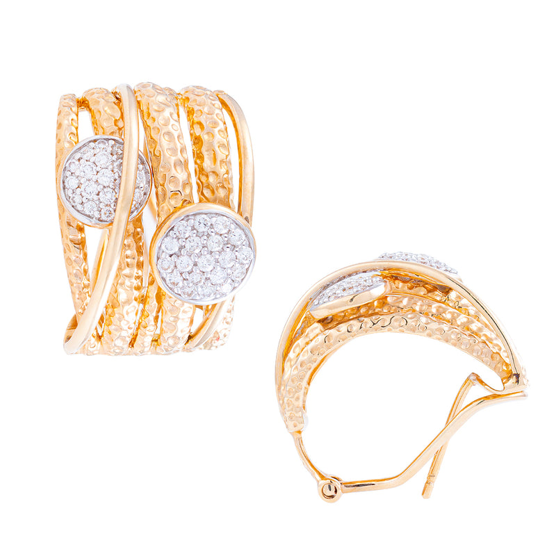 Aretes GHIBERTI JUNGLE  spots en oro 14K con diamantes