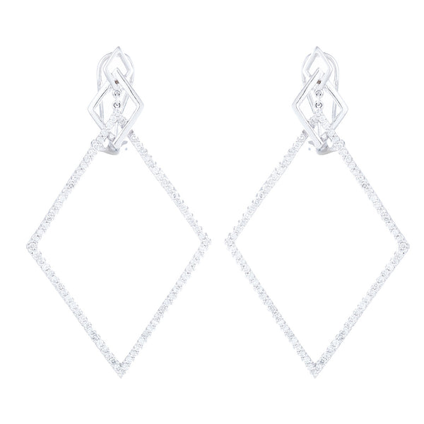 Aretes Geometry en oro blanco 14K con diamantes
