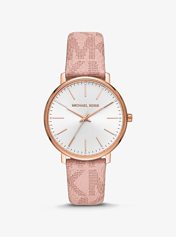 Pyper Logo and Rose Gold-Tone Watch MK-2859