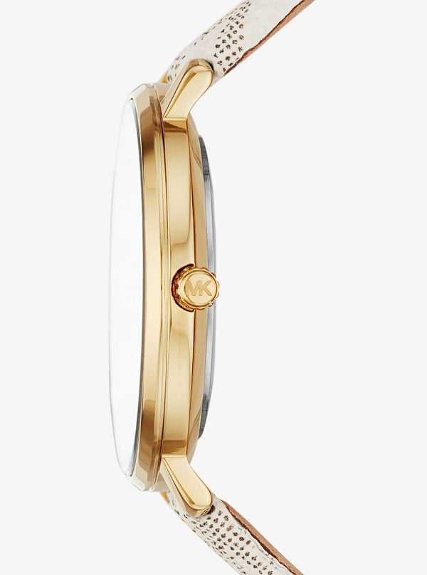 Pyper Logo and Gold-Tone Watch MK-2858
