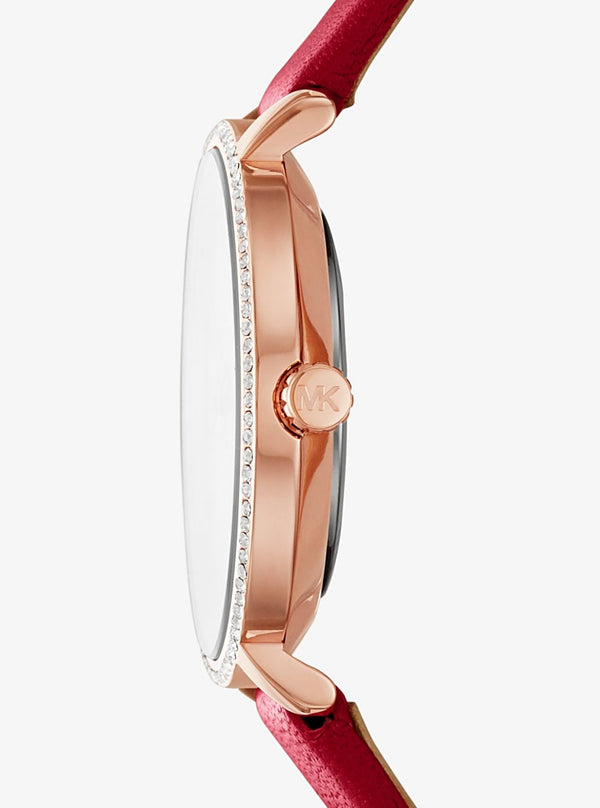 Mini Pyper Rose Gold-Tone and Leather Watch MK-2869