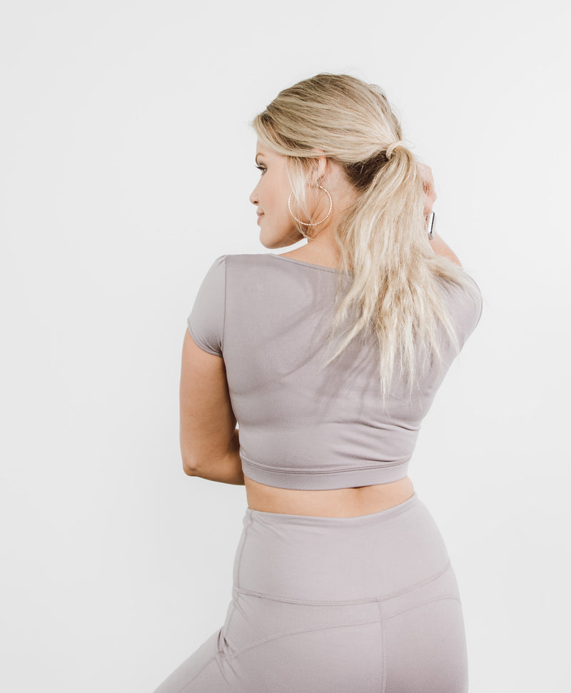 Lotus Crop Top in Dusty Lavender