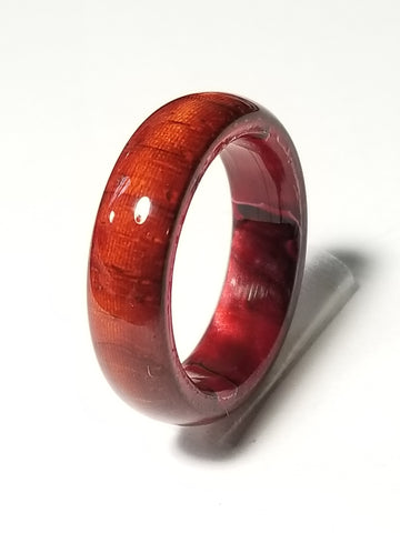 African Padauk Wood Ring with Lava Red Acrylic Liner