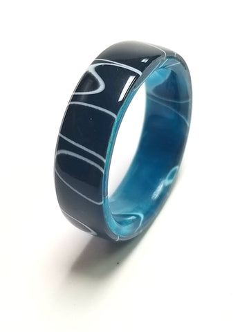 White Lightning and Oceanic Blue Acrylic Ring