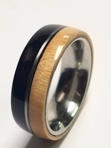 Rosewood and Maple  Wood with Recycled Guitar String Inlay Stainless Steel Core Ring