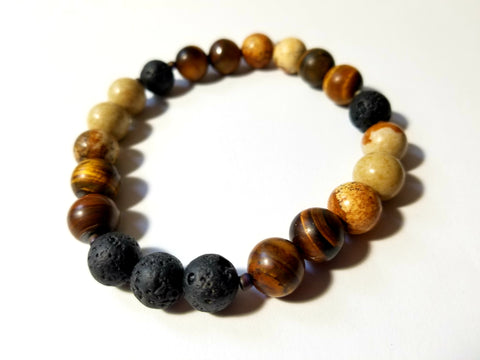 Hand Crafted Men's Tiger Eye and Picture Jasper Diffuser Bracelet