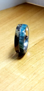 Zebra Wood and Emerald Diamondcast Ring with Upcycled Guitar String Inlay Stainless Steel Core
