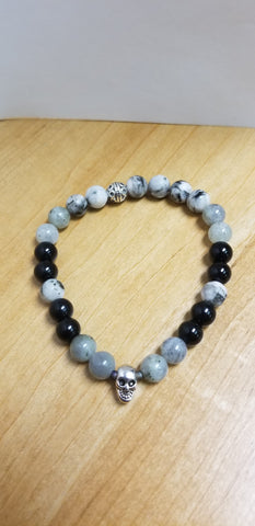 Hand Crafted Labradorite, Onyx and Zebra Agate Bracelet with Silver Celtic Skull Charm