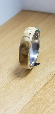 Hybrid Matrix Acrylic and Russian Olive Burl Wood Stainless Steel Core Ring