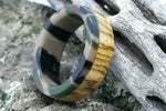 Bocote Wood Ring with Camouflage Pattern Acrylic Liner