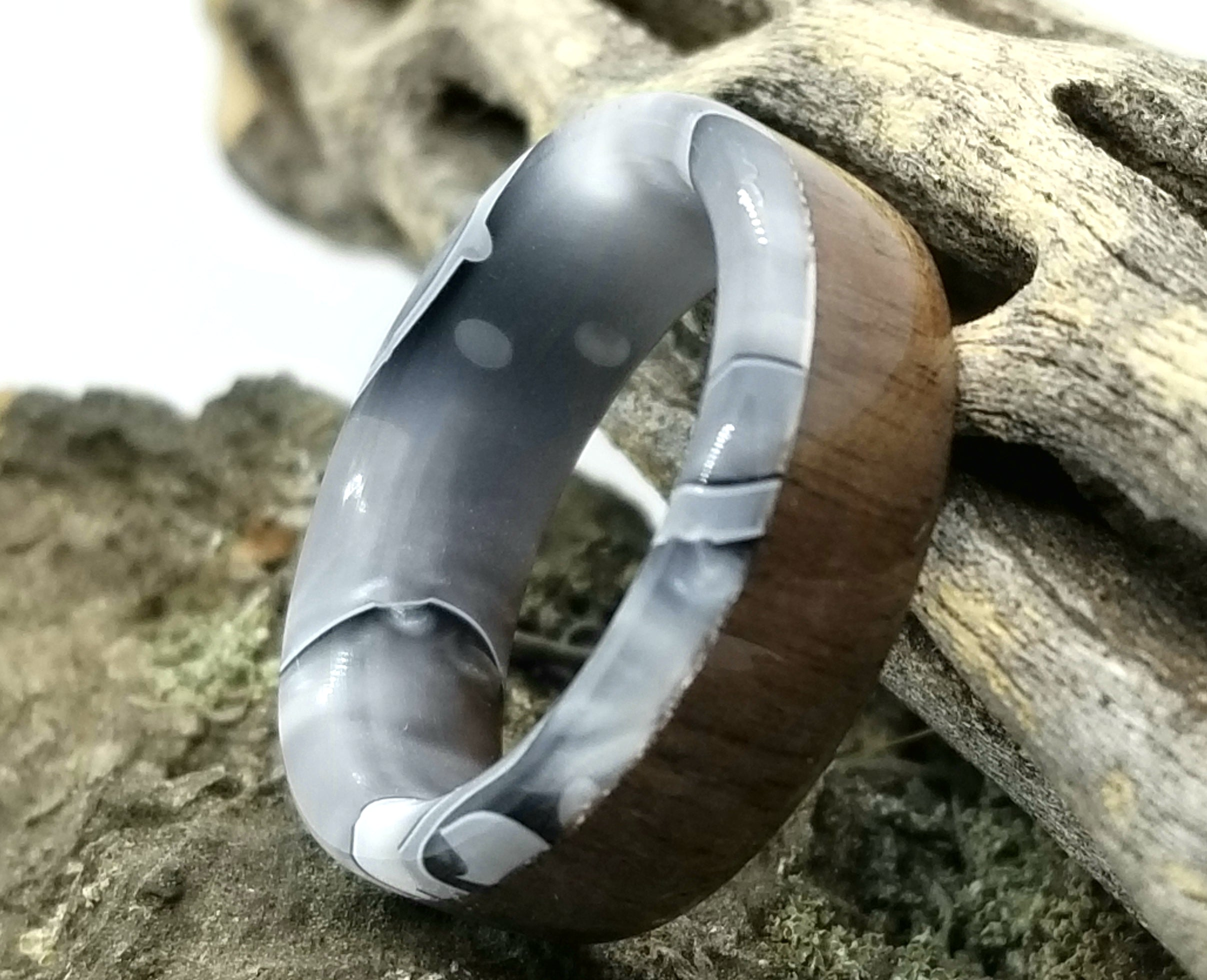 Canadian Walnut Wood Ring with Silver Shadow Acrylic Liner