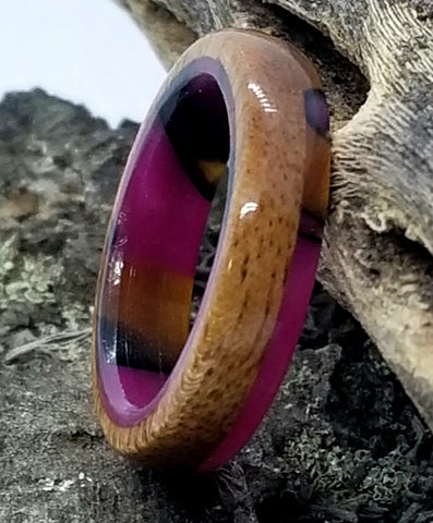Tigerwood Wood Ring with Candy Pink Acrylic Liner