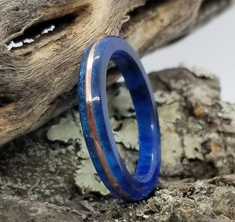 Royal Blue Diamond Cast Acrylic Ring with Tinned Copper Inlay