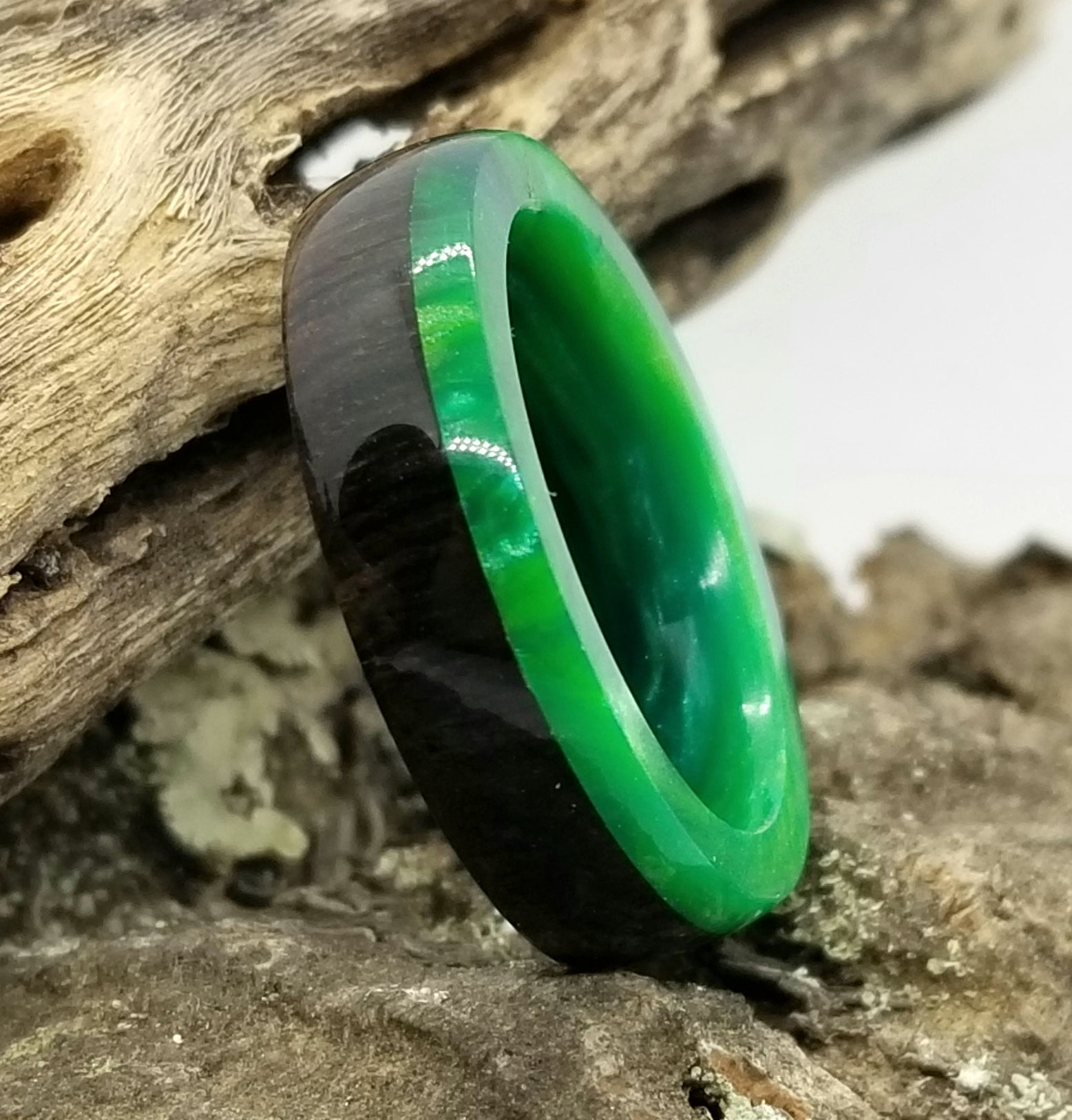 African Blackwood Wood Ring with Emerald Green Acrylic Liner