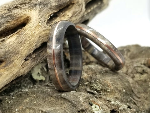 Metallurgic Diamond Cast Acrylic Ring with Tinned Copper Inlay