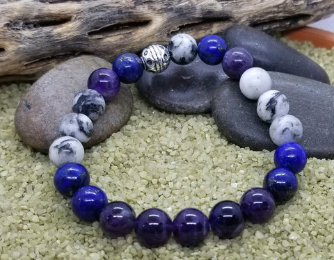 Hand Crafted Pisces Bracelet with Amethyst, Zebra Agate and Lapis Lazuli