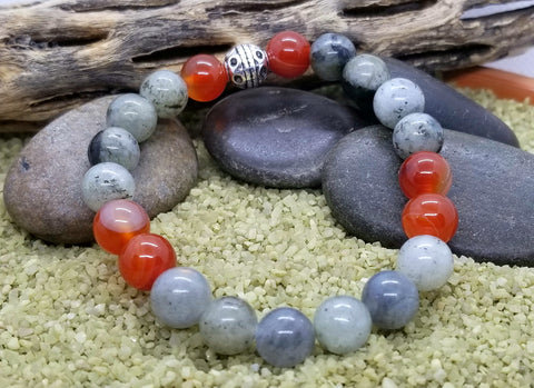 Hand Crafted Good Luck Bracelet with Labradorite and Carnelian