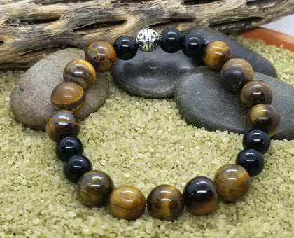 Uplifting Tigers Eye and Onyx Hand Crafted Bracelet